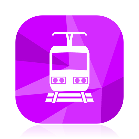 Train violet square vector web icon. Internet design and webdesign button. Mobile application sign on white background.