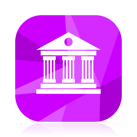 Museum violet square vector web icon. Internet design and webdesign button. Mobile application sign on white background.