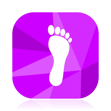 Foot violet square vector web icon. Internet design and webdesign button. Mobile application sign on white background. Illustration