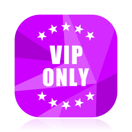 Vip only violet square vector web icon. Internet design and webdesign button. Mobile application sign on white background.