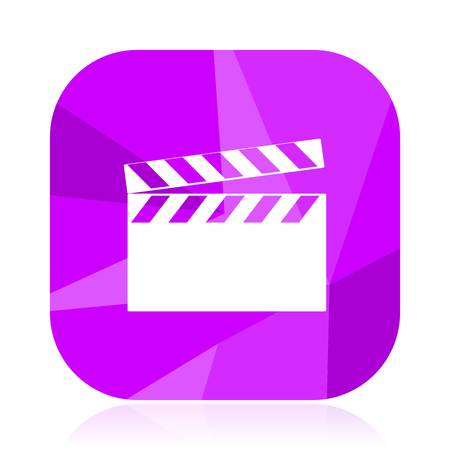 Video violet square vector web icon. Internet design and webdesign button. Mobile application sign on white background. Illustration
