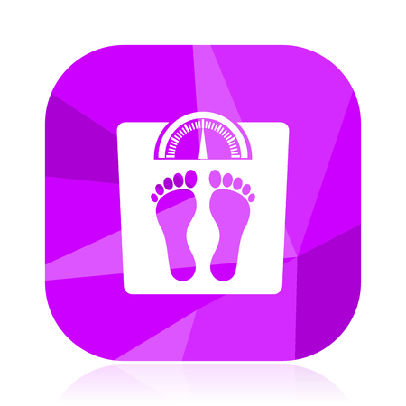 Weight violet square vector web icon. Internet design and webdesign button. Mobile application sign on white background.