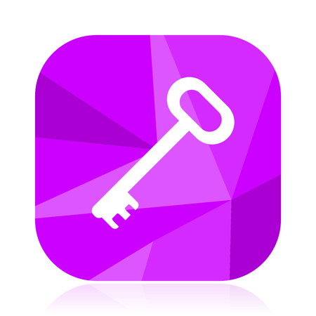 Key violet square vector web icon. Internet design and webdesign button. Mobile application sign on white background. Illustration