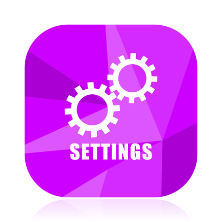 Settings violet square vector web icon. Internet design and webdesign button. Mobile application sign on white background. Illustration