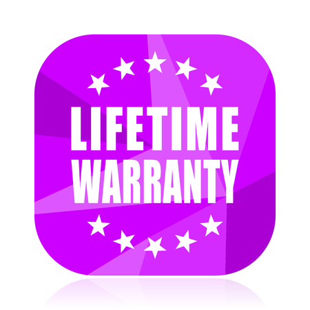 Lifetime warranty violet square vector web icon. Internet design and webdesign button. Mobile application sign on white background.