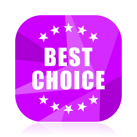 Best choice violet square vector web icon. Internet design and webdesign button. Mobile application sign on white background. Illustration