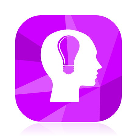 Head violet square vector web icon. Internet design and webdesign button. Mobile application sign on white background. Ilustrace