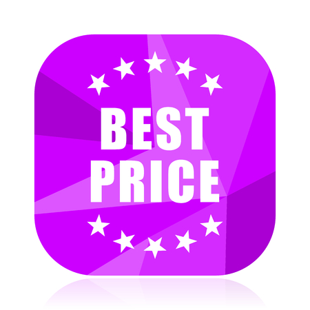 Best price violet square vector web icon. Internet design and webdesign button. Mobile application sign on white background.