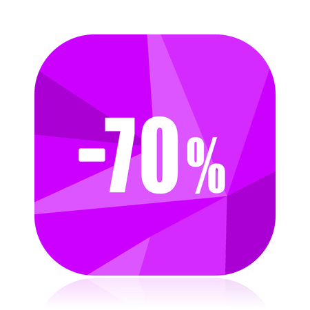 70 percent sale retail violet square vector web icon. Internet design and webdesign button. Mobile application sign on white background.