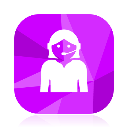 Female violet square vector web icon. Internet design and webdesign button. Mobile application sign on white background.