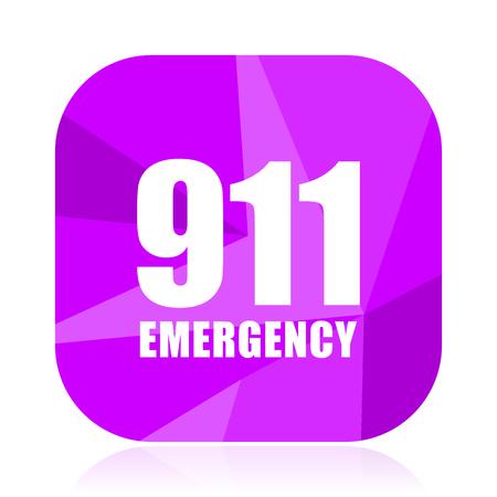 Number emergency 911 violet square vector web icon. Internet design and webdesign button. Mobile application sign on white background. Illustration