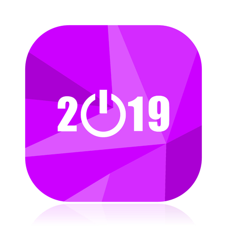 New year 2019 violet square vector web icon. Internet design and webdesign button. Mobile application sign on white background.