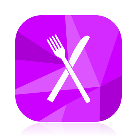 Restaurant violet square vector web icon. Internet design and webdesign button. Mobile application sign on white background.