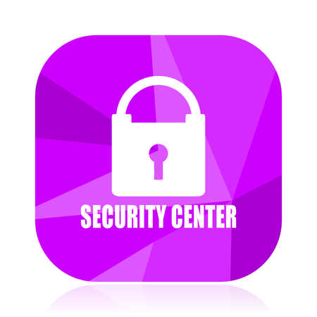 Security center violet square vector web icon. Internet design and webdesign button. Mobile application sign on white background. Illustration