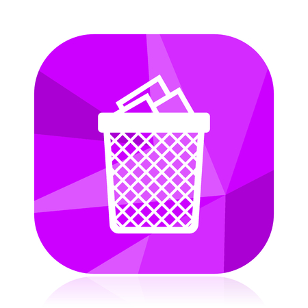 Trash can violet square vector web icon. Internet design and webdesign button. Mobile application sign on white background. Illustration