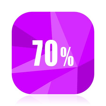 70 percent violet square vector web icon. Internet design and webdesign button. Mobile application sign on white background. Illustration