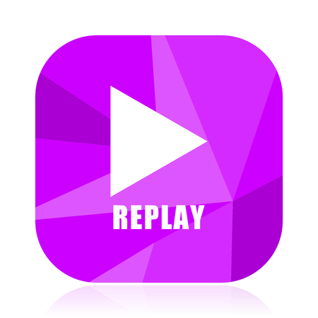 Replay violet square vector web icon. Internet design and webdesign button. Mobile application sign on white background. Illustration