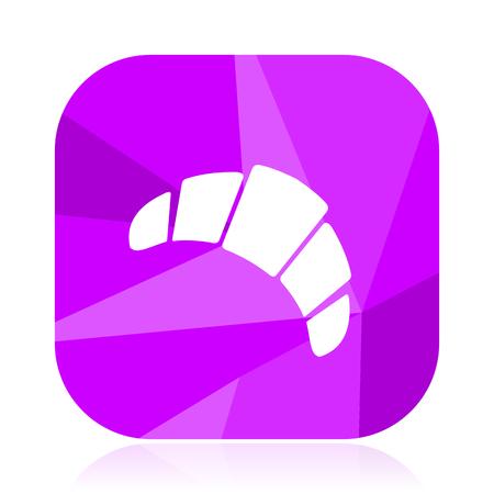 Croissant violet square vector web icon. Internet design and webdesign button. Mobile application sign on white background. Illustration