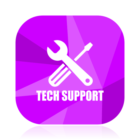 Technical support violet square vector web icon. Internet design and webdesign button. Mobile application sign on white background. Illustration