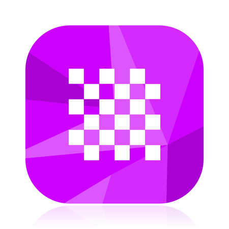 Chess violet square vector web icon. Internet design and webdesign button. Mobile application sign on white background.