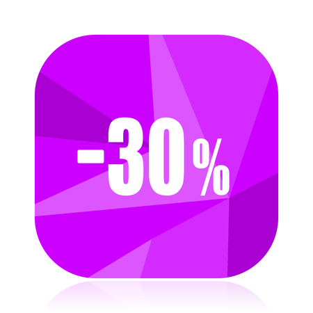 30 percent sale retail violet square vector web icon. Internet design and webdesign button. Mobile application sign on white background.