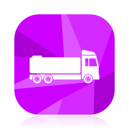Truck violet square vector web icon. Internet design and webdesign button. Mobile application sign on white background.