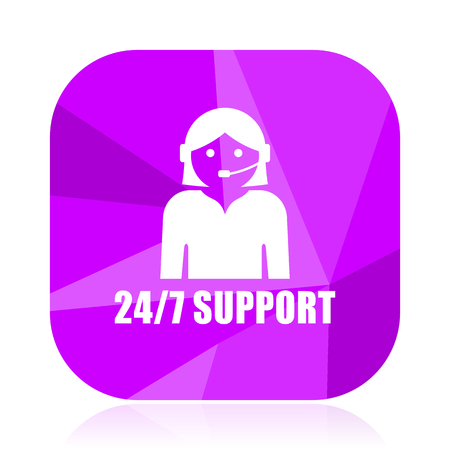 247 support violet square vector web icon. Internet design and webdesign button. Mobile application sign on white background.