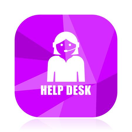 Help desk violet square vector web icon. Internet design and webdesign button. Mobile application sign on white background.