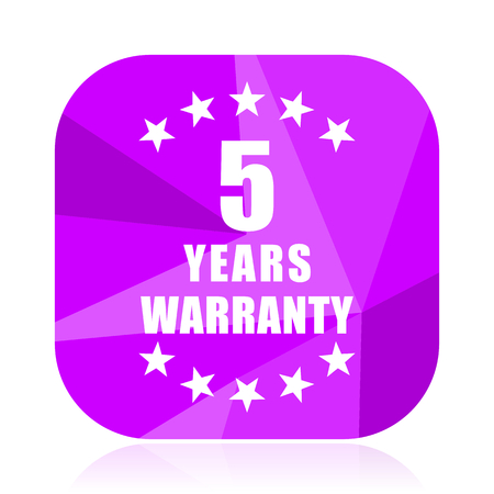 Warranty guarantee 5 year violet square vector web icon. Internet design and webdesign button. Mobile application sign on white background.