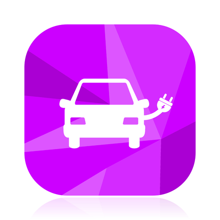 Electric car violet square vector web icon. Internet design and webdesign button. Mobile application sign on white background.