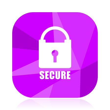 Secure violet square vector web icon. Internet design and webdesign button. Mobile application sign on white background. Illustration