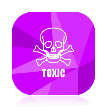 Toxic skull violet square vector web icon. Internet design and webdesign button. Mobile application sign on white background. Illustration