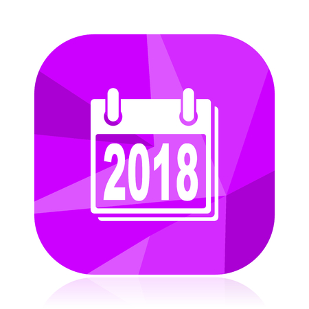 New year 2018 violet square vector web icon. Internet design and webdesign button. Mobile application sign on white background. Illustration
