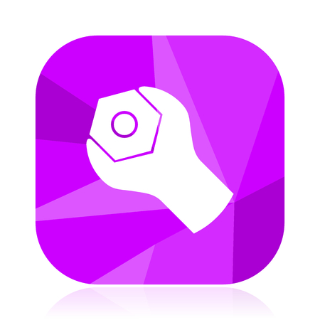 Tools violet square vector web icon. Internet design and webdesign button. Mobile application sign on white background. Illustration