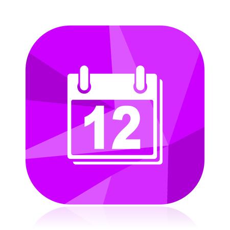 Calendar violet square vector web icon. Internet design and webdesign button. Mobile application sign on white background.