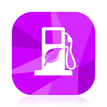 Bio fuel violet square vector web icon. Internet design and webdesign button. Mobile application sign on white background.