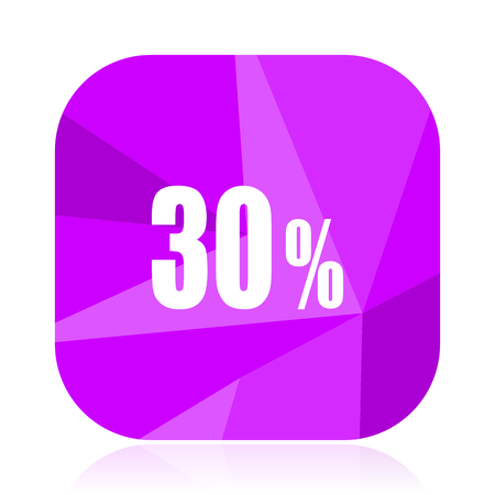 30 percent violet square vector web icon. Internet design and webdesign button. Mobile application sign on white background.