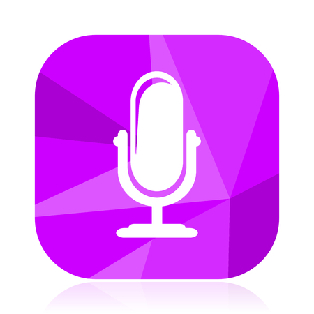 Microphone violet square vector web icon. Internet design and webdesign button. Mobile application sign on white background.