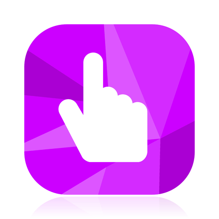 Hand, cursor violet square vector web icon. Internet design and webdesign button. Mobile application sign on white background.