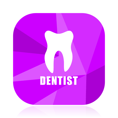 Dentist violet square vector web icon. Internet design and webdesign button. Mobile application sign on white background.