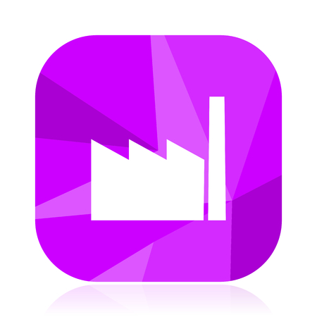 Factory violet square vector web icon. Internet design and webdesign button. Mobile application sign on white background.