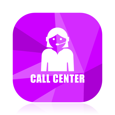Call center violet square vector web icon. Internet design and webdesign button. Mobile application sign on white background. Illustration
