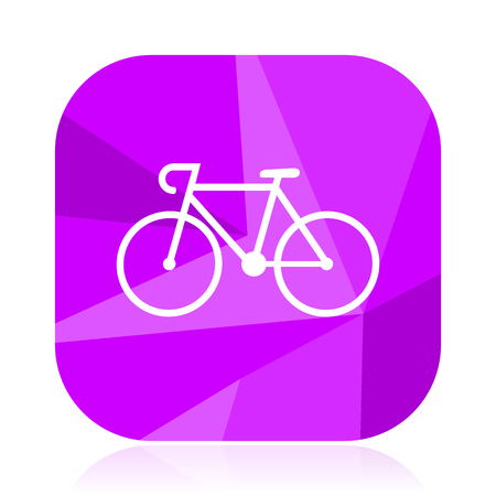 Bicycle violet square vector web icon. Internet design and webdesign button. Mobile application sign on white background.