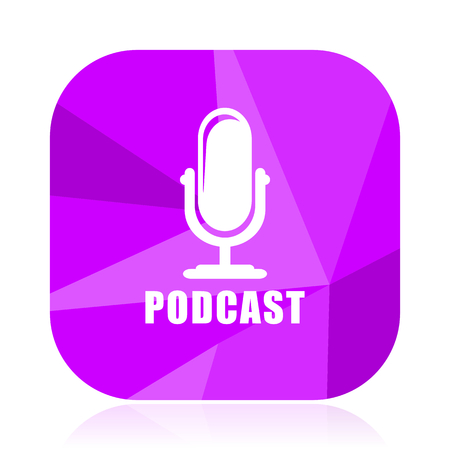 Podcast violet square vector web icon. Internet design and webdesign button. Mobile application sign on white background.