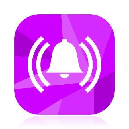 Alarm violet square vector web icon. Internet design and webdesign button. Mobile application sign on white background.