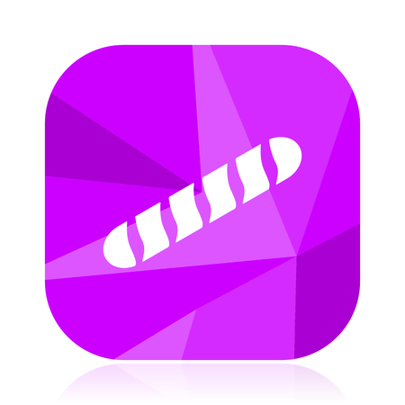 Baguette violet square vector web icon. Internet design and webdesign button. Mobile application sign on white background.