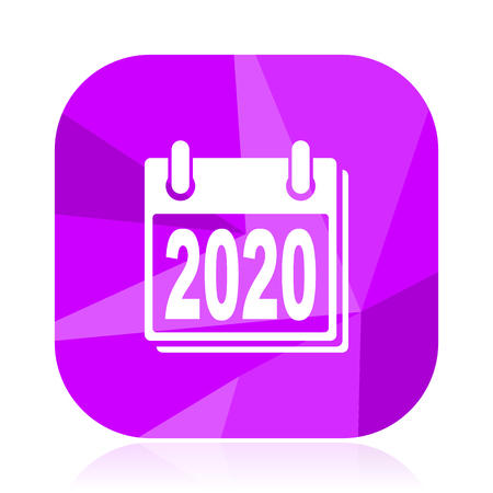 New year 2020 violet square vector web icon. Internet design and webdesign button. Mobile application sign on white background. Illustration