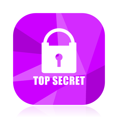 Top secret violet square vector web icon. Internet design and webdesign button. Mobile application sign on white background. Illustration
