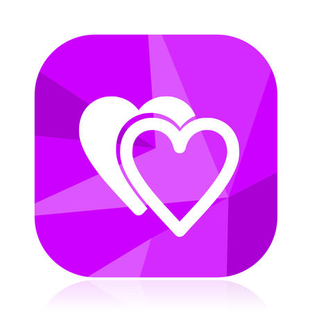 Love violet square vector web icon. Internet design and webdesign button. Mobile application sign on white background.