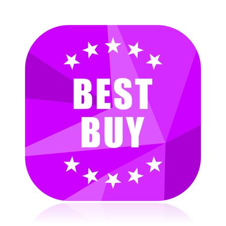 Best buy violet square vector web icon. Internet design and webdesign button. Mobile application sign on white background. Illustration